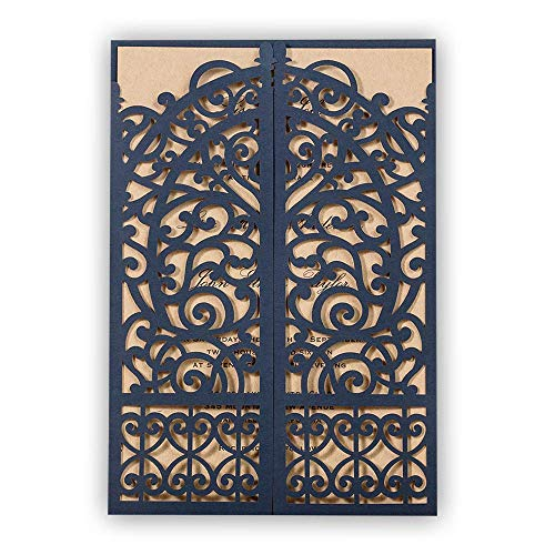 (WISHMADE 1 Piece Blue Laser Cut Gate Fold Invites Kit for Wedding Engagement Graduation Birthday Party Housewarming Quincenera Paraboda, Printable Invitation with Envelops AW7075)