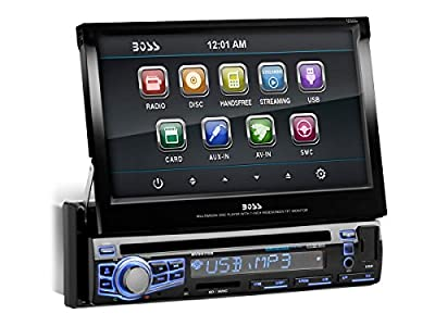 BOSS Audio In-Dash Single-Din 7-inch Motorized Touchscreen DVD/CD/USB/SD/MP4/MP3 Player Receiver Bluetooth Streaming Bluetooth Hands-free with Remote from BOSS AUDIO
