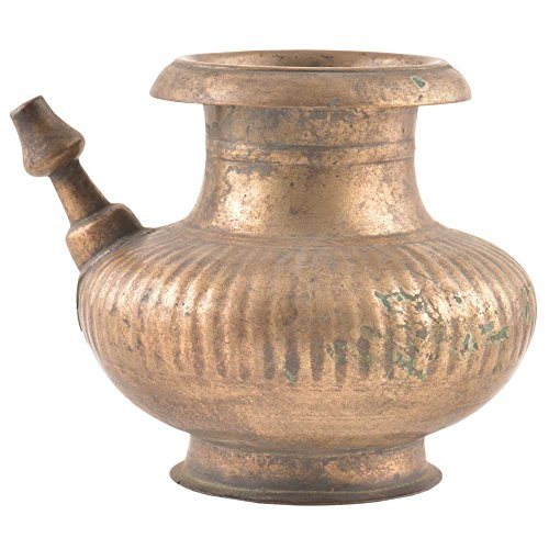 Indianshelf Handmade Brass Spouted Holy Water Pot Statues Decoration Designer Vintage Statement Pieces Online New by Indian Shelf