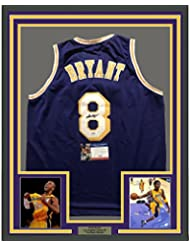 Framed Autographed/Signed Kobe Bryant 33x42 Los Angeles Lakers Purple Basketball Jersey PSA/DNA COA