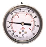 2-1/2'' Oil Filled Vacuum Pressure Gauge - Stainless Steel Case, Brass, 1/4'' NPT, Center Back Mount Connection -30HG/60PSI