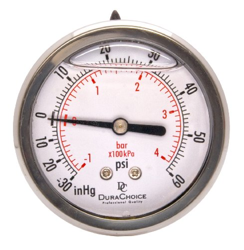 2-1/2'' Oil Filled Vacuum Pressure Gauge - Stainless Steel Case, Brass, 1/4'' NPT, Center Back Mount Connection -30HG/60PSI by DuraChoice