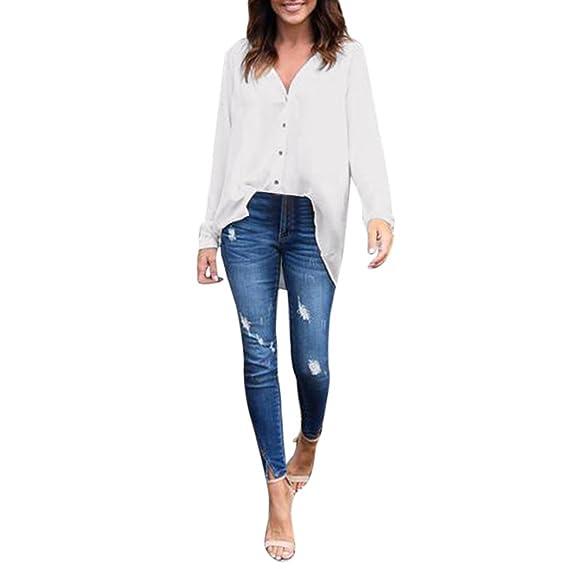 Cocoty Moda blusa holgada de manga larga de las mujeres Camisa de Gasa Casual Tops T