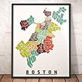 BOSTON Neighborhood Map Art Print, Unique Boston Decor, Artist signed typography map art print series, Many sizes available & highly collected