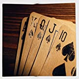 Cotton Microfiber Hand Towel,Poker Tournament Decorations,Damaged Old Cards on Wooden Table Close Up Leisure Image Decorative,Brown Black Blue,for Kids, Teens, and Adults,One Side Printing