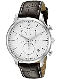T0636171603700 Tradition Men's Chrono Quartz Silver Dial Watch with Brown Leather Strap
