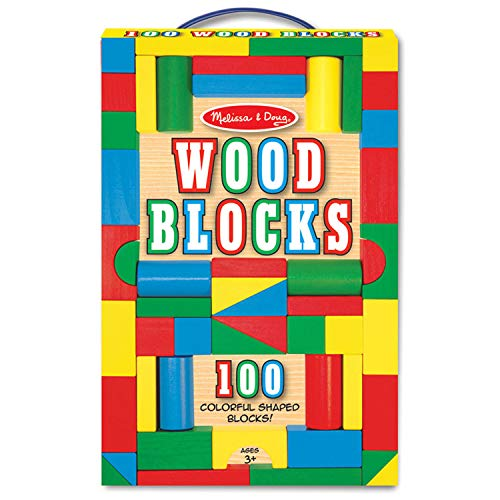 Melissa & Doug Wooden Building Blocks Set - 100 Blocks in 4 Colors and 9 Shapes (Block Set Building)