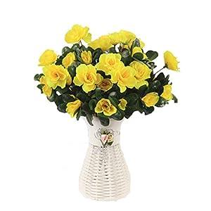 Lopkey Silk Fake Flower Artificial Red Azalea Bush white vase,Yellow 102
