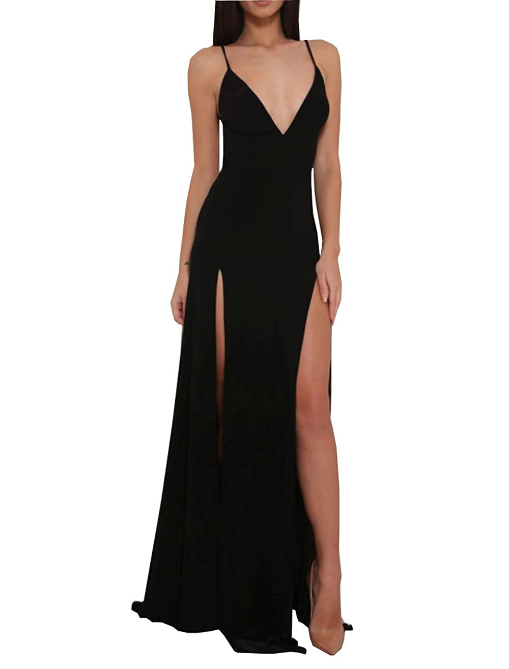 Blacka QiJunGe Women's Party Evening Prom Dress Featuring Side Split Formal Gowns Long