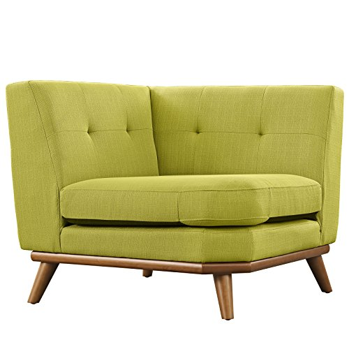 Modway Engage Mid-Century Modern Fabric Upholstered Sectional Corner Sofa in Wheatgrass