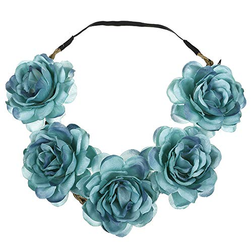 UROSA Boho Ladies Floral Flower Festival Wedding Garland Hair Head Band Beach Party Headwear Blue