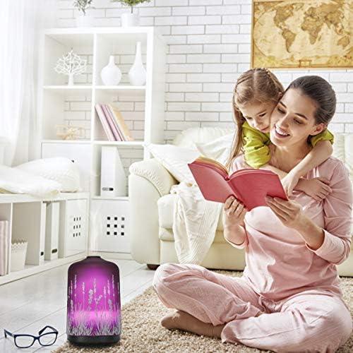 250ml Lavande 3DVerre Ultrasonique Diffuseurs d'Huiles Essentielles Electrique,Silencieux Humidificateur,Minuterie et Arrêt Automatique sans eau, 7 Couleurs LED pour La Maison Spa Yoga Massage (250ml)