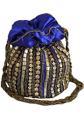 PHB3001 Indian Doré Bleu Batwa Potli Sac Royal Fancy Indien Blue Bag Royal Potli de et Antique rg1aqw4r