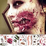 Halloween Temporary Face Tattoo Sticker 3D Zombie Scar Fake Bloody Wound for Cosplay Party Masquerade Prank Prop Decorations, Waterproof Sweatproof Makeup for Women Man kids (10sheets)