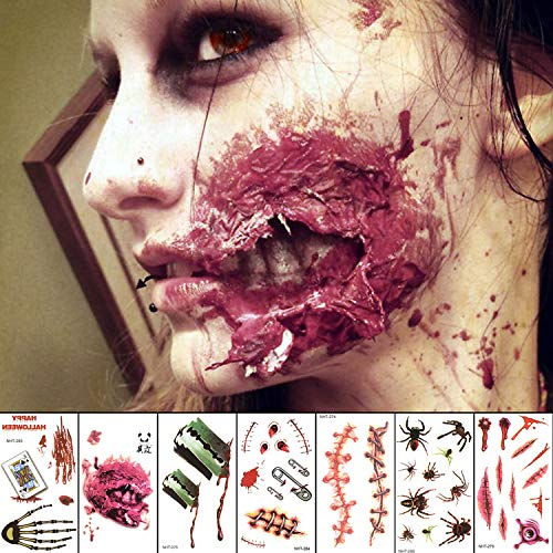 (Halloween Temporary Face Tattoo Sticker 3D Zombie Scar Fake Bloody Wound for Cosplay Party Masquerade Prank Prop Decorations, Waterproof Sweatproof Makeup for Women Man kids (10sheets))