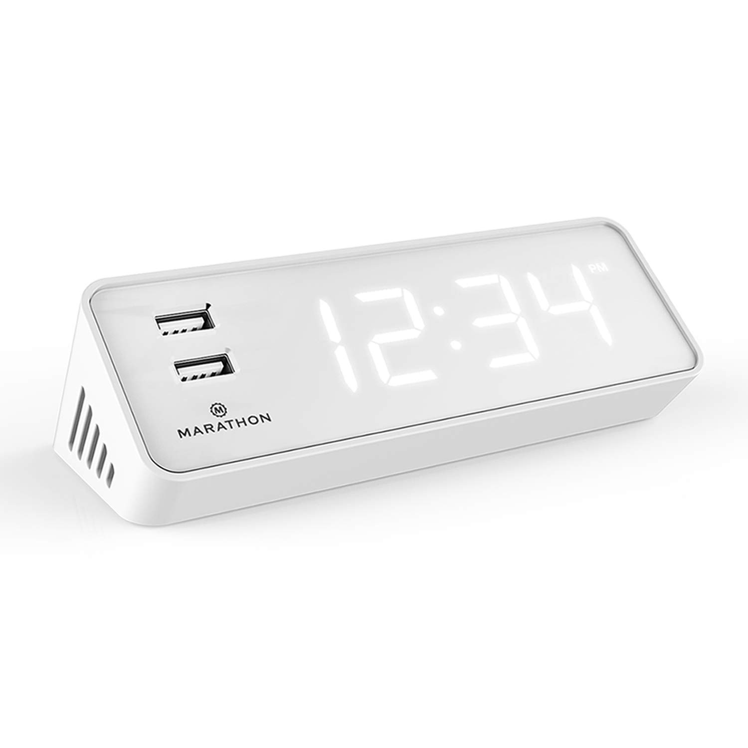 MARATHON CL030055BK LED Alarm Clock with Two Fast Charging, Front Facing USB Ports. Great for Travelling