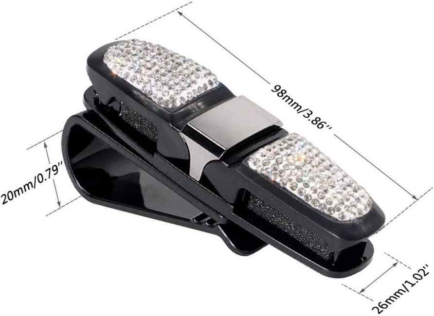 Balight Fashion Bling Crystal Rhinestones Car Sun Visor Glasses With Double-Ended Ticket Clip Holder