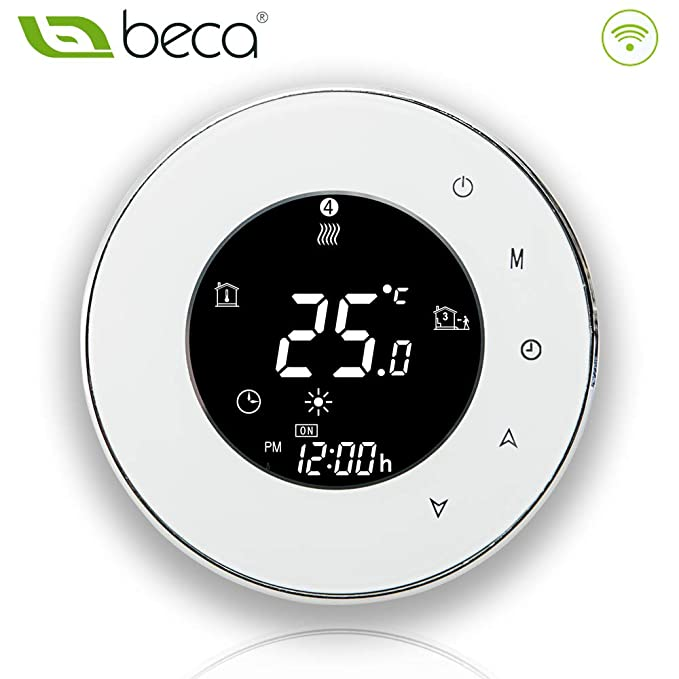 BECA 6000 Series 3/16A LCD Touch Screen Water/Electric/Boiler Heating Intelligent Programming Control Thermostat with WIFI Connection (Boiler Heating, ...