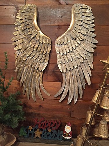 Metal Angel Wings Hanging Wall Decor Distressed Vintage Gold - Angel Hanging