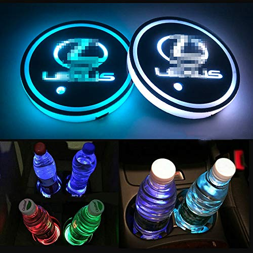 Autoxo LED Car Cup Holder Lights for Lex-US 7 Colors Changing USB Charging Mat Luminescent Cup Pad LED Interior Atmosphere Lamp 2Pcs ()