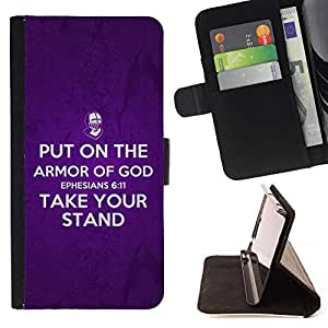 BullDog Case - FOR/Sony Xperia M2 / - / EPHESIANS 6:11 PUT ON THE ARMOR OF GOD /- Monedero de cuero de la PU Llevar cubierta de la caja con el ID Credit Card Slots Flip funda de cuer