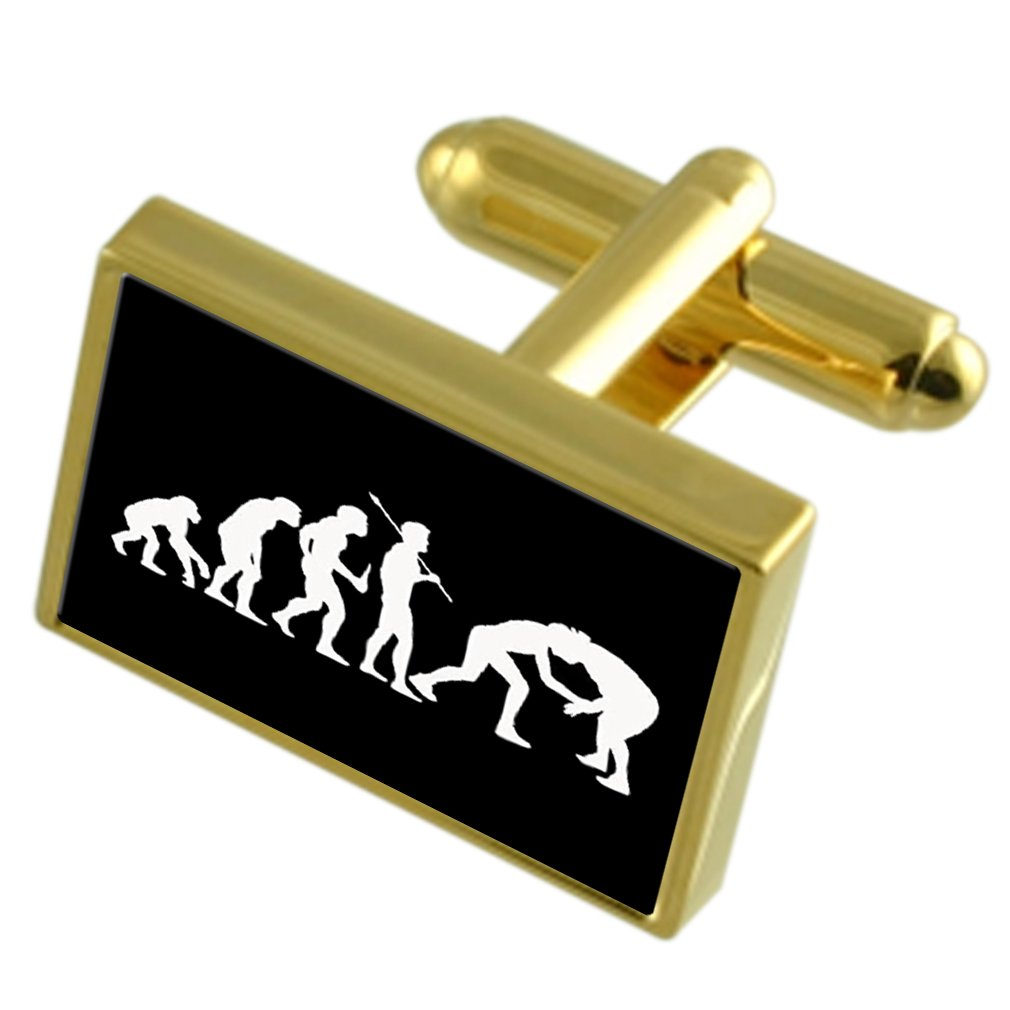 Evolution Ape to Man Wrestling Gold-tone Cufflinks Black Pouch by Select Gifts