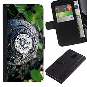 LECELL--Cuero de la tarjeta la carpeta del tirón Smartphone Slots Protección Holder For Samsung Galaxy Note 4 IV -- bola 8 --