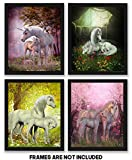 TheNameStore Unicorn Room Decor Art Prints 4 Pack | Set of Four Photos 8x10 Unframed | Great Gift for Unicorn Party Supplies or Unicorn Girls Birthday