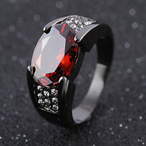YD Jewels - Size 8 Men's Red Garnet Fashion Jewelry Black 18K Gold Filled Rings