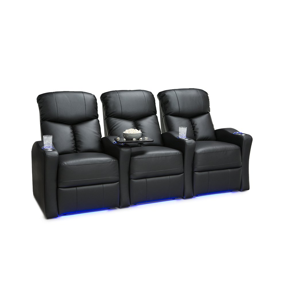 Seatcraft Raleigh Home Theater Seating Manual Recline Leather Gel (Row of 3, Black)