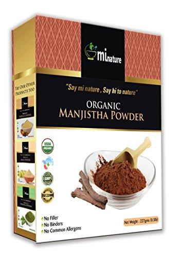 USDA Certified Organic Manjistha Powder, Rubia CORDIFOLIA, by mi Nature, 100% Pure & Natural Manjistha Powder (227g / (1/2 lb) / 8 Ounces) by mi nature
