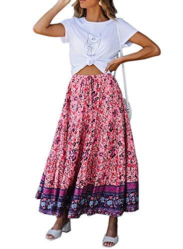 (BLENCOT Women's Fashion Floral Pleated Elastic High Waist Drawstring Stretchy Swing A Line Midi Skirts Pink L)