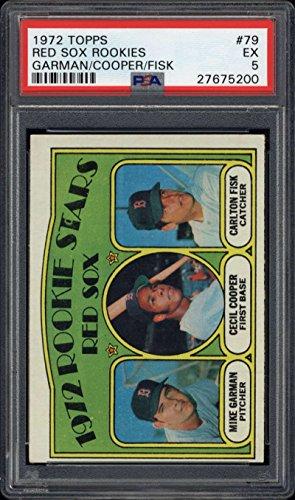 (1972 Topps Red Sox Rookies Carlton Fisk PSA EX 5 Cecil Cooper Mike Garmin)