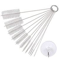 eZAKKA 9.8 Inch 12 Pieces Nylon Tube Brush Pipe Cleaning Brush with Protective Cap for Drinking Straws Glasses Keyboards Jewelry Cleaning with 45mm Transparent Suction Cup Hook