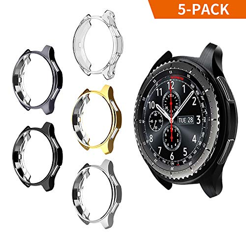 Case for Samsung Gear S3 Frontier SM-R760, Belyoung Soft TPU Plated Protective Bumper Shell for Samsung Gear S3 Frontier SM-R760 & Galaxy Watch 46mm SM-R800 Smartwatch (Black+Clear+Gold+Silver+Gray)