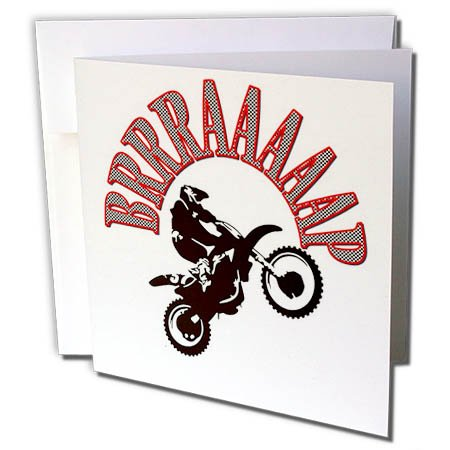 3dRose Taiche - Vector - Motocross - Red Brrraaaaap Checkered Flag Moto Language - 6 Greeting Cards with Envelopes (gc_284714_1)