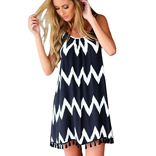 - Corgy Women Casual Geometric Printed Beach Tassel Spaghetti Strap Short Dress Dresses