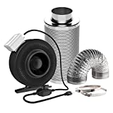 VIVOSUN 6 Inch 440 CFM Inline Fan with Speed Controller and 6'' Carbon Filter 8 Feet Ducting Combo