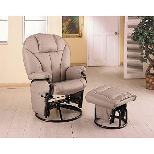 Leatherette Glider with Ottoman, Has Plush Cushions That Make This The Perfect Seat to Doze Off in The Afternoon, or Cozy up with a Book on a Lazy Sunday Afternoon, Assembly Required