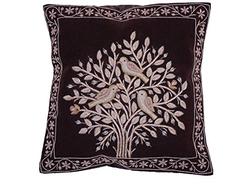 NovaHaat Dark Chocolate Brown Velvet 100% Hand Embroidered Decorative Indian Toss Throw Accent Pillows Cushion COVER with Tree of Life in Gold Metallic Dabka work embroidery, from Uttar Pradesh in -