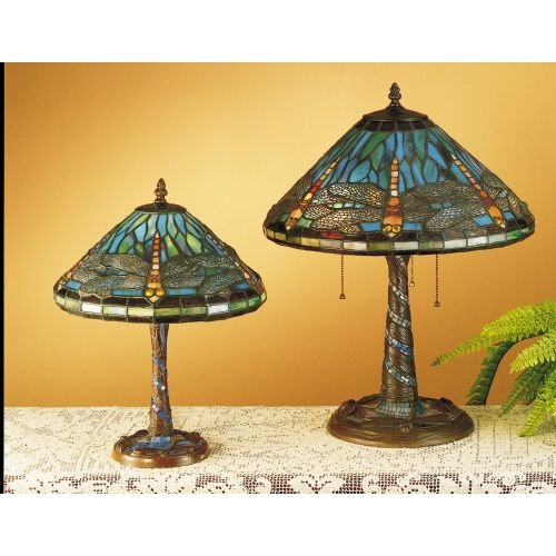 Meyda Tiffany 26683 Dragonfly with Twisted Fly Mosaic Base Accent Lamp, 16