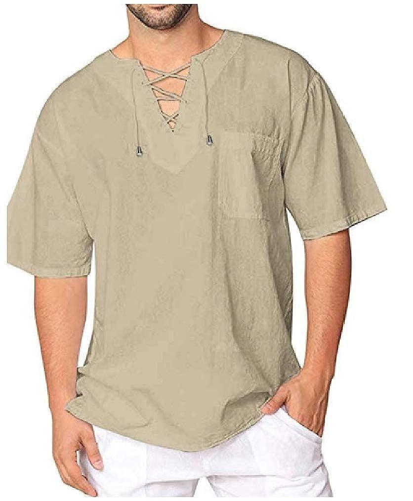 Vska Mens V-Neck Short Sleeve Cotton Linen Shirts Solid Tees Top