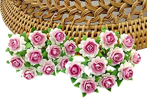 NAVA CHIANGMAI Rose Pink White Color Mulberry Paper Flower 10 mm Scrapbooking Wedding Doll House Supplies Card
