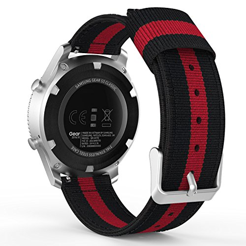 MoKo Band Compatible with Gear S3, 22mm Fine Woven Nylon Adjustable Replacement Strap fit Samsung Gear S3 Frontier/Classic/Galaxy Watch 46mm/Ticwatch pro/E2/S2/Huawei Watch GT 2 46mm, Black & Red