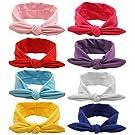 Qandsweet Baby Girl Elastic Hair Hoops Headbands (8 Pack Solid Bunny Ears)