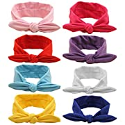 QandSweet Baby Hairband Girl Elastic Hair accessories Headbands (8 Pack Solid Bunny Ears)