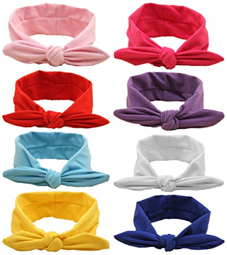 QandSweet Baby Hairband Girl Elastic Hair accessories Headbands (8 Pack Solid Bunny (Baby Toddler Headband)
