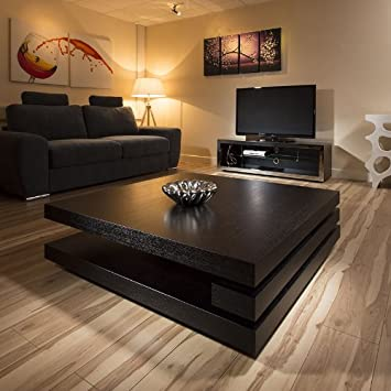 Avant Garde Extra Large Modern Square Black Oak 1 2mt Coffee Table