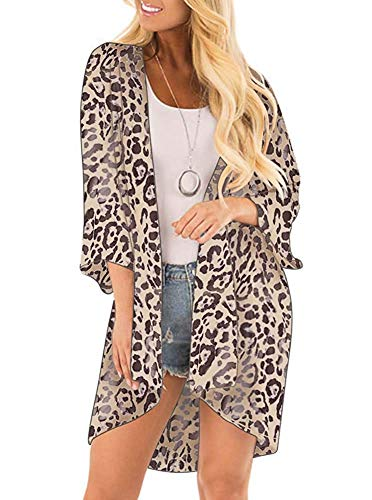 (DREAGAL Women's 3/4 Sleeve Leopard Printed Kimono Sheer Chiffon Loose Cardigan L)