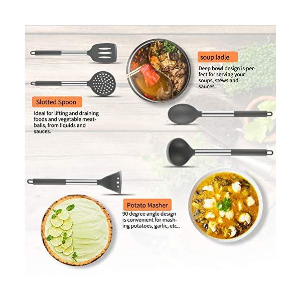 Silicone Cooking Utensil Set, BPA Free 24pcs Silicone Cooking Kitchen Utensils Set with 10pcs hook, Non-stick Heat… 4